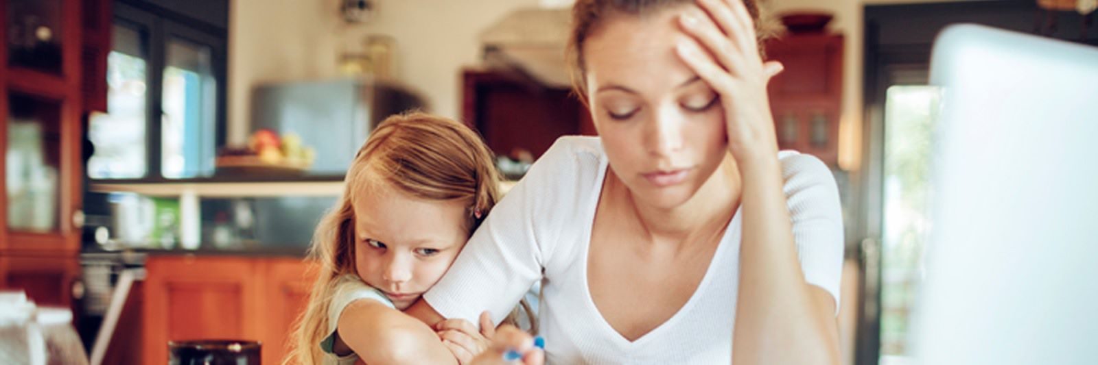 Mom with daughter stressed out
