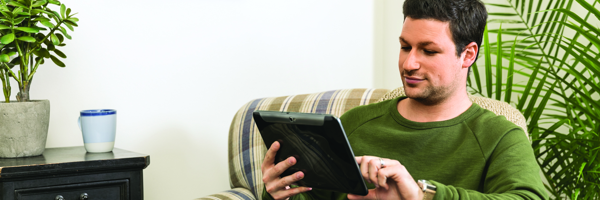 Man on tablet