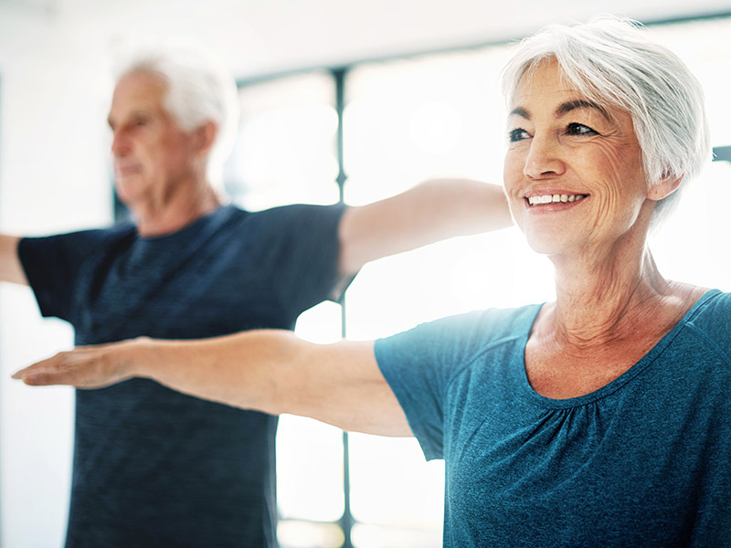 Mature couple doing working out