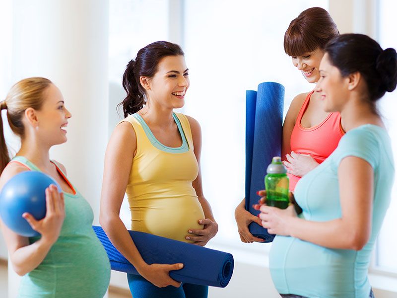 Pregnant women with mats